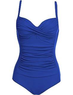 edbea67bd5 Ekouaer Womens One Piece Swimsuits Elegant Inspired Vintage Pin up  Monokinis Tummy Control Swimwear Shirred Bathing