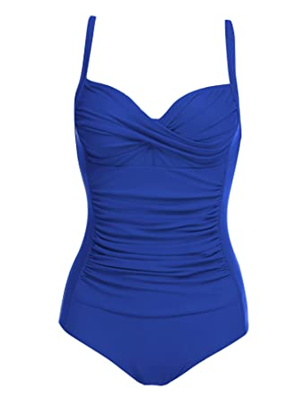 1936f5354d9 Ekouaer Retro Monokinis Swimsuits for Women One Piece Sexy,Blue,X-Small