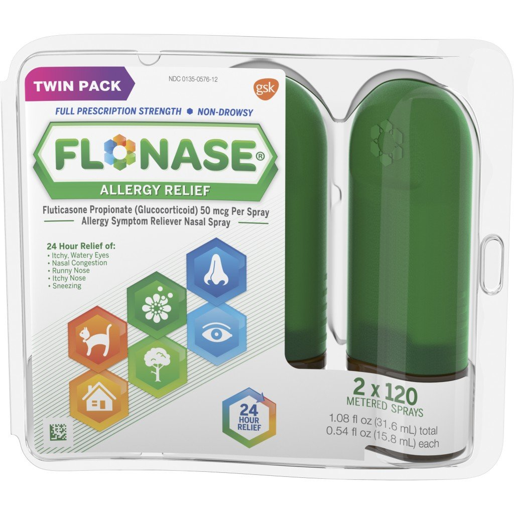 Flonase 24hr Allergy Relief Nasal Spray, Full Prescription Strength, 240 sprays (Twinpack of 120 sprays) by Flonase