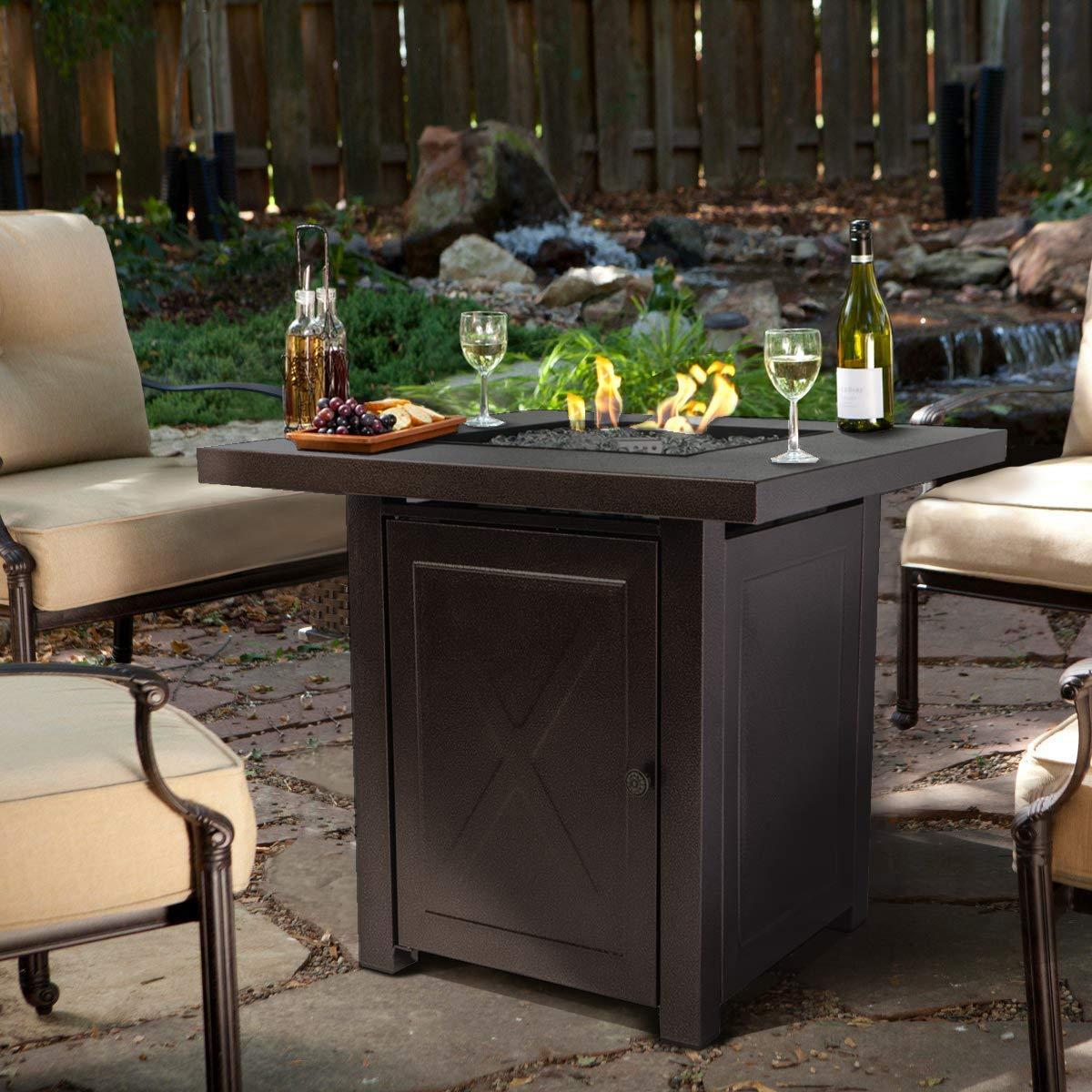 Amazon com barton fire pit table fire glass fireplace outdoor garden patio heater firepit with lid 46 000btu garden outdoor