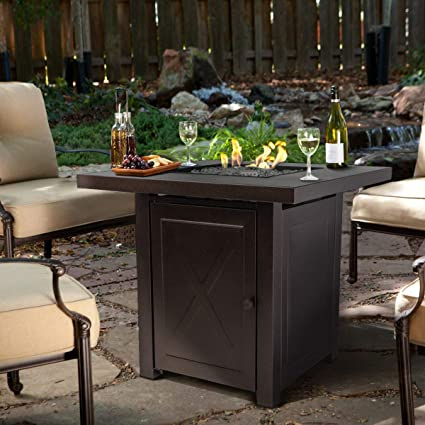 Patio Furniture With Fireplace.Barton Fire Pit Table Fire Glass Fireplace Outdoor Garden Ignition Control Patio Heater Firepit 46 000btu