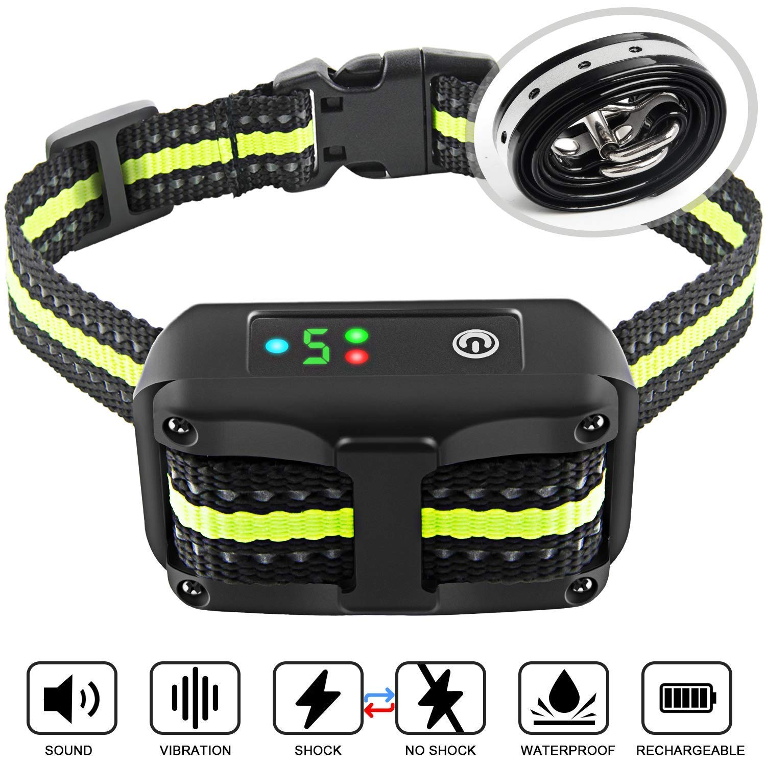 Bark Collar 2019 Upgrade Version No Bark Collar Rechargeable Anti bark Collar with Beep Vibration and No Harm Shock Smart Detection Module Bark collar for Small Medium Large Dog by Authen (Image #1)