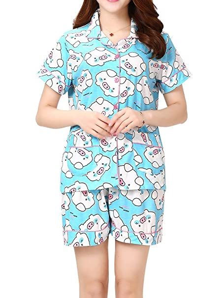 VENTELAN Women s Lovely Pigs Printed Sleepwear Lapel Cardigan Shorts ... 621506300