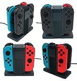 Nintendo Switch 充電器 【KuGi】 Nintendo Switch Joy-Con コントローラー 充電器 4つ同時充電 充電ホルダー チャージャー 任天堂 スイッチ Joy-Con 充電チャージャー 置くだけ充電スタンド 充電指示ランプ付き ブラック