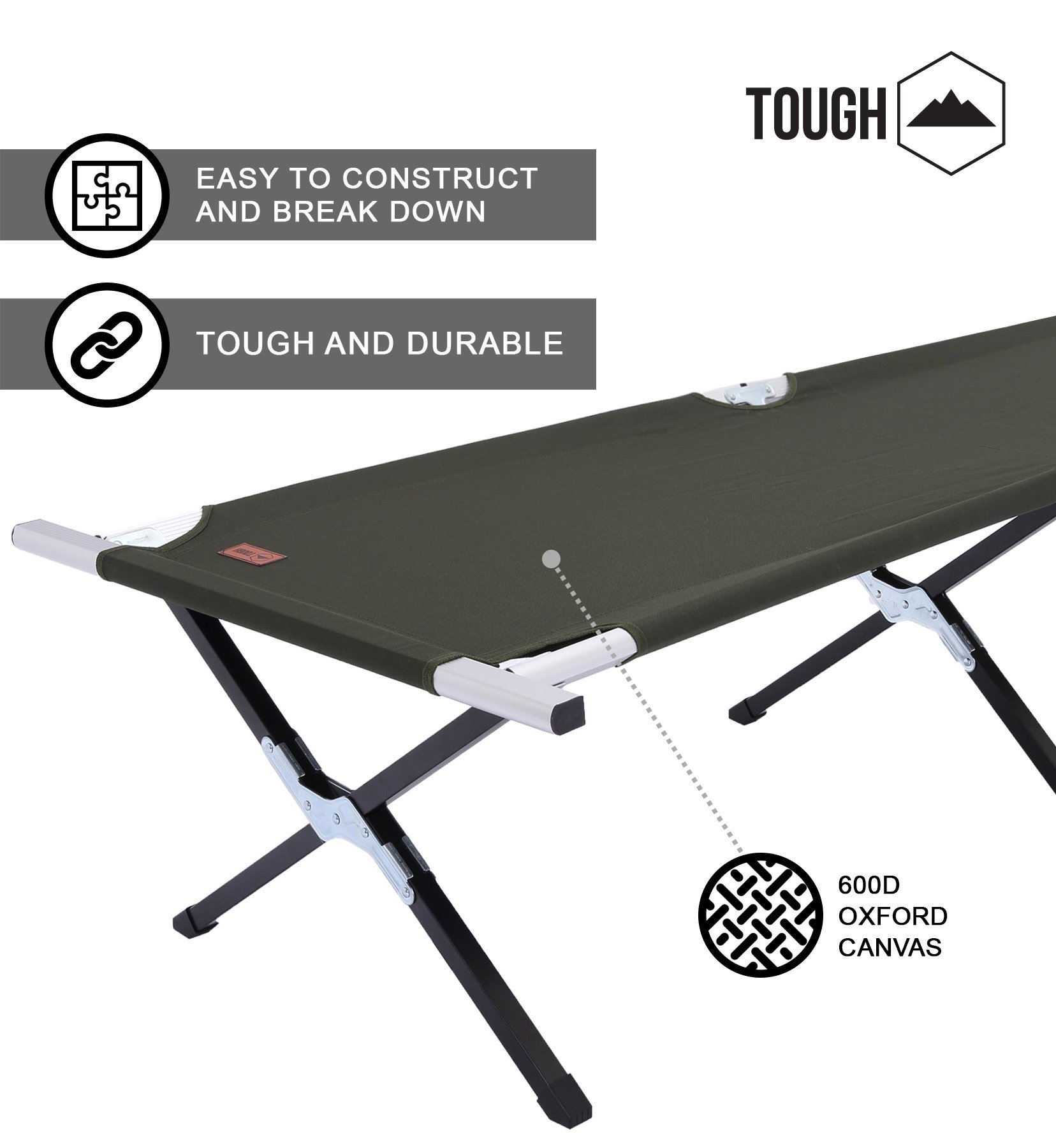 Tough Outdoors Camping Cot Folding Military Army Camp