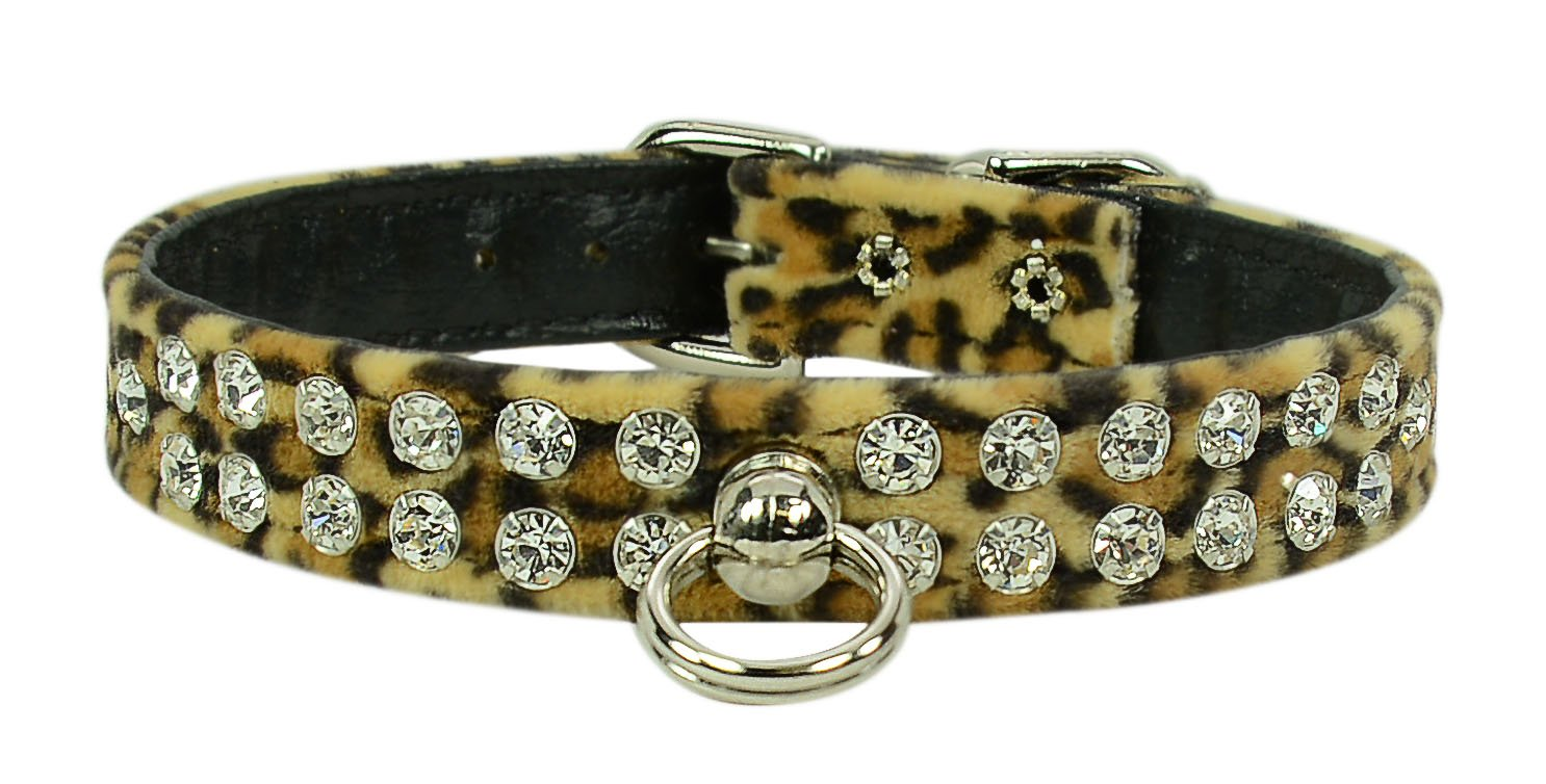 Evans Collars 1/2'' Jeweled Collar, Size 16, Animal Prints, Leopard