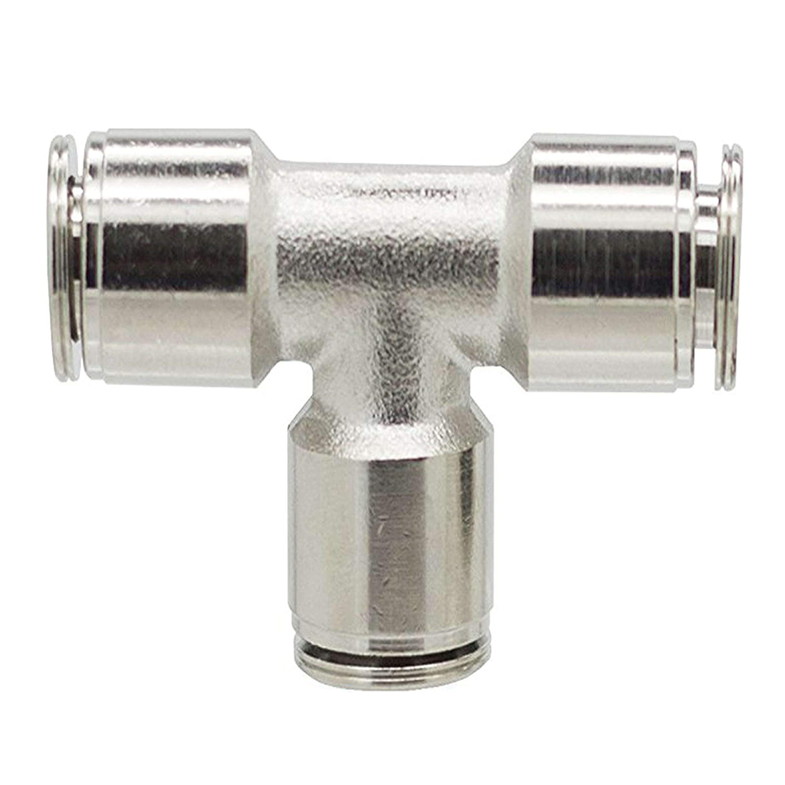 Utah Pneumatic Pack of 2 Nickel-Plated Brass Push to Connect Fittings 1/4''Od Tee Connect Union Push Fit Fittings Tube Fittings Pneumatic Fittings Air Line Fittings Tube Connector (1/4'' Tee Brass)