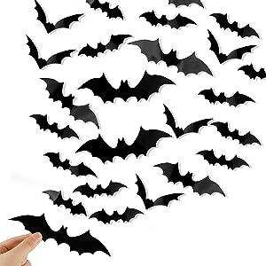 DIYASY Bats Wall Decor,120 Pcs 3D Bat Halloween Decoration Stickers for Home Decor 4 Size Waterproof Black Spooky Bats for Room Decor