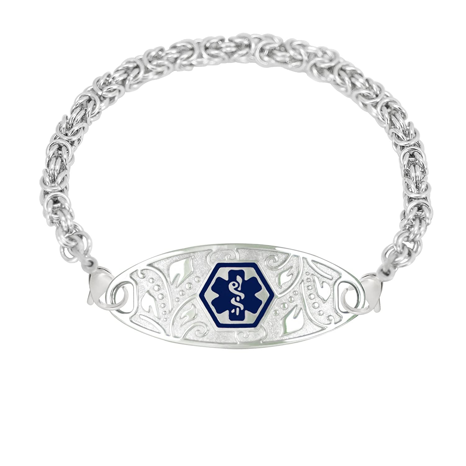 Divoti Custom Engraved 316L Lovely Filigree Medical Alert Bracelet for Women w/Stainless Handmade Byzantine Chain -Deep Blue Divoti Inc. 13200DBU-55