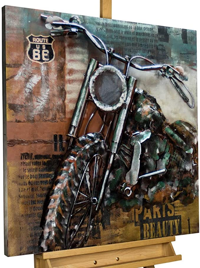 Kunstloft Extravagante Relieve de Pared de Metal Freedom on Wheels ...