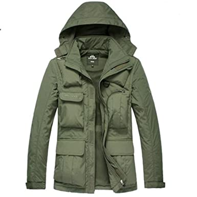 Yaha see there New Autumn Winter Fleece Jacket Men Casual Loose Hooded Collar Multi-pockets
