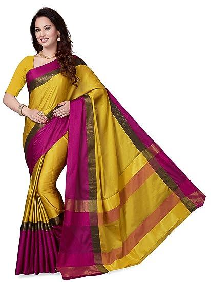9e2590f11de ishin Women s Art Silk Saree (Mustard Yellow   Pink)  Amazon.in  Clothing    Accessories