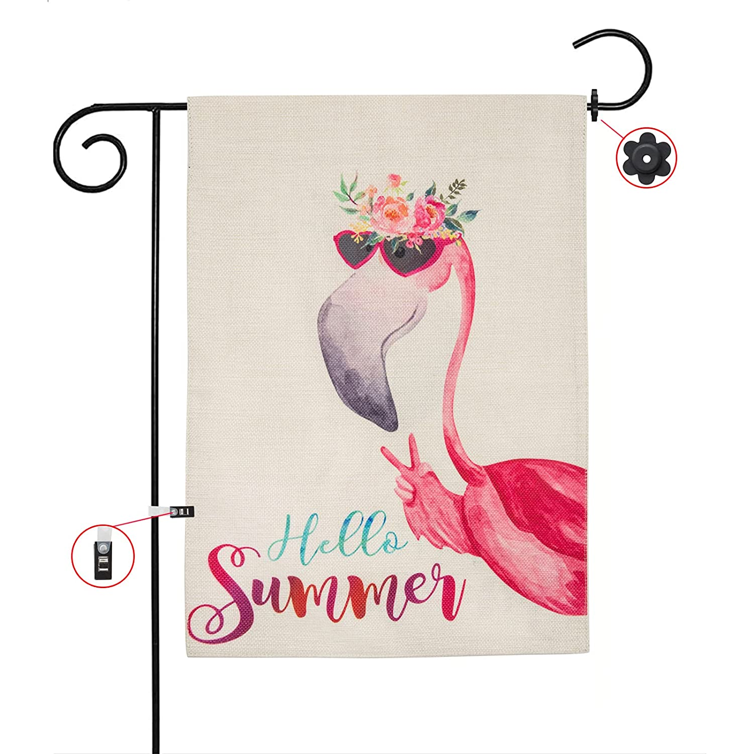Hello Summer Flamingo Garden Flag, Vertical Double Sided 12.5 x 18 Inch Farmhouse Home Decor Banner, Outdoor Front Porch Decoration Welcome Yard Sign with Stopper and Anti-Wind Clip Set Burlap Pink