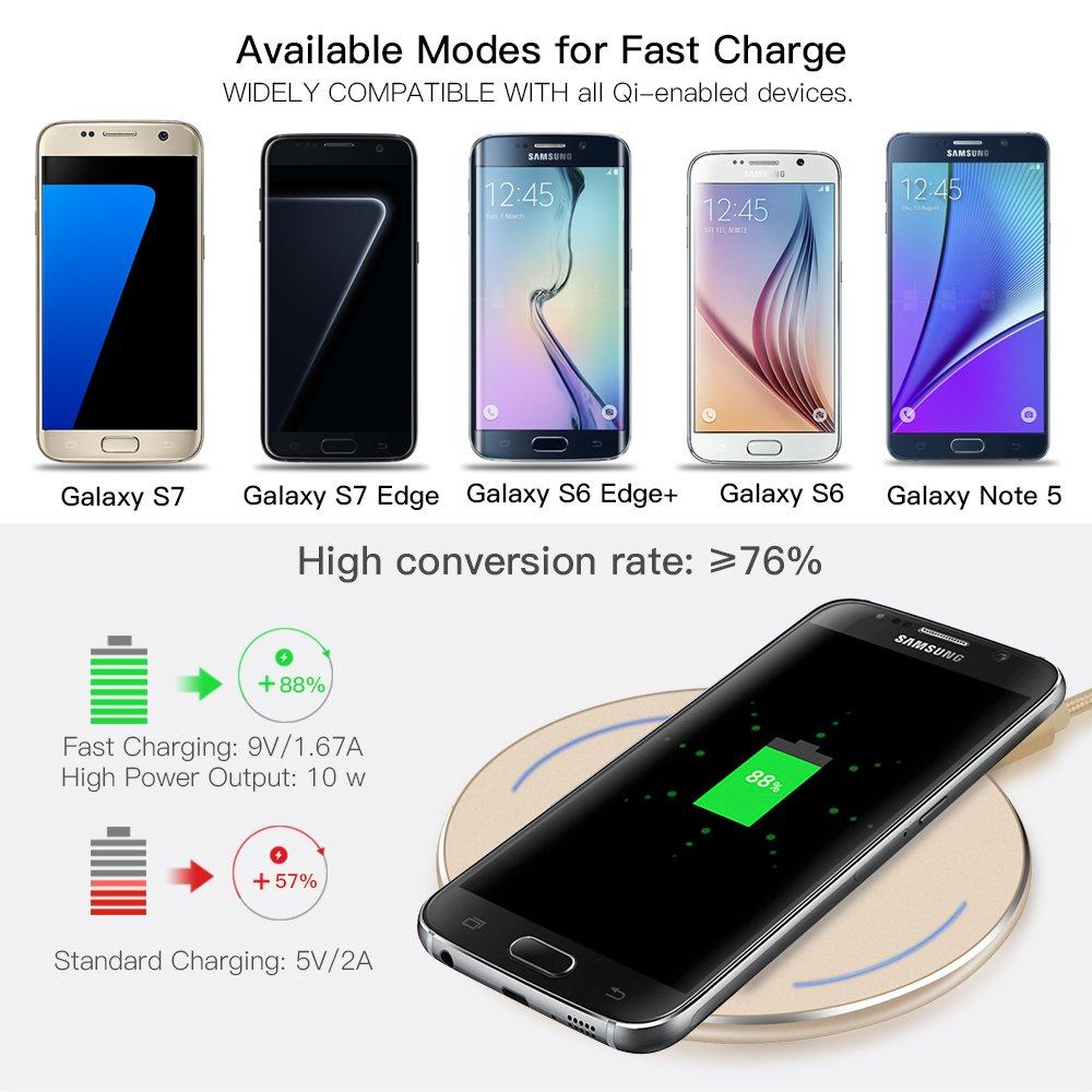 Cargador Qi inalámbrico, rápido y portátil para Samsung Galaxy S8, S7, S7 Edge, S6, S6 Edge, S6 Edge Plus, Galaxy Note 5 y Nexus 4/5/6/7