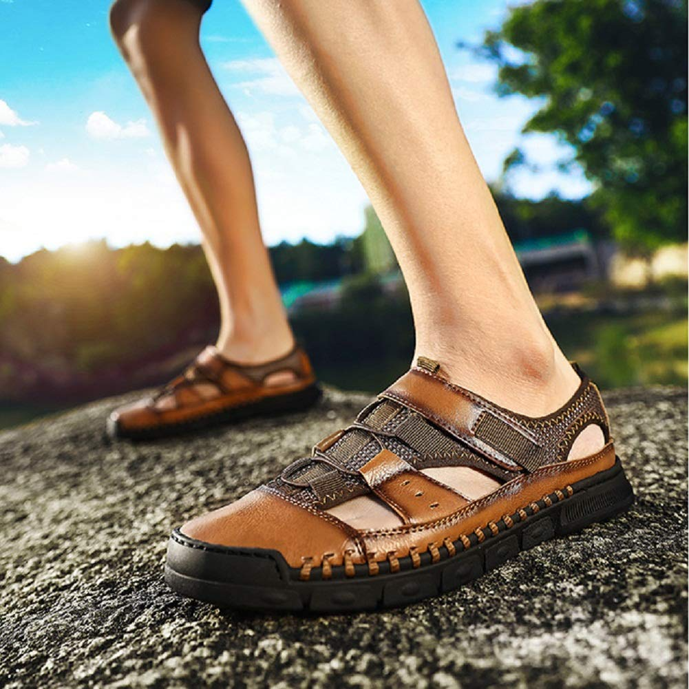 MINIDUO Mens Fisherman Shoes Closed Toe Summer Leather Outdoor Sports Breathable Beach Sandals Loafer