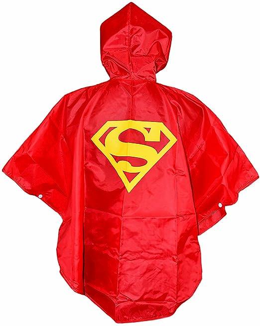 Superman ROJO chicos de la lluvia del poncho del cabo Superhéroe - Un tamaño 3 a 7 ...