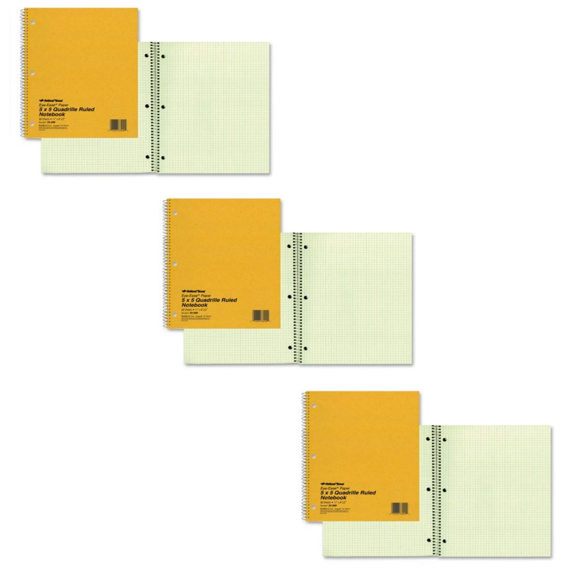 NATIONAL Brand Brown Board Cover Notebook, Quad, 1-Subject, Green Paper, 11 x 8.5'' 80 Sheets (33209), 3 PACK