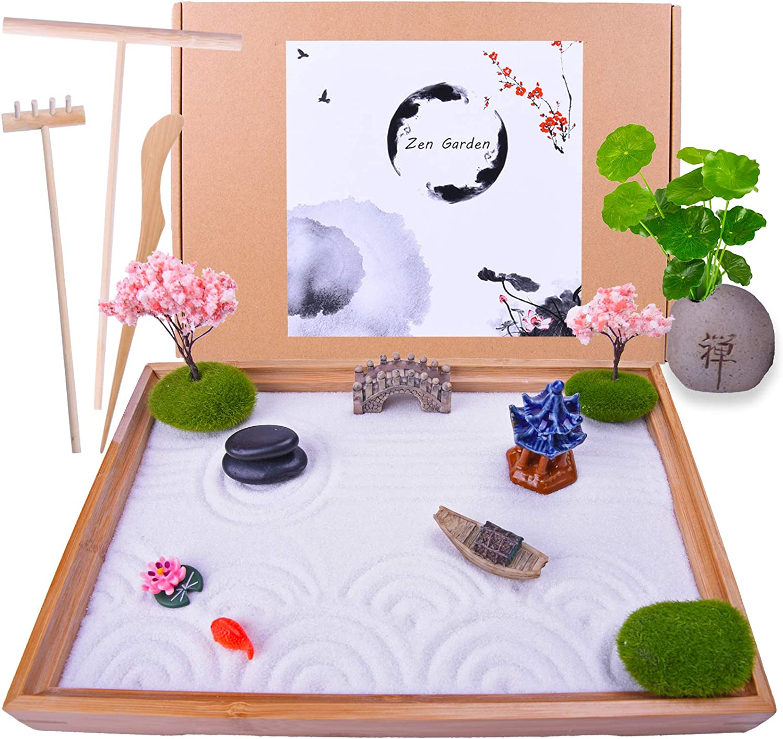 Japanese Zen Garden - Home & Office Desk Mini Garden with Rock Vase Fish Bridge Boat Cherry Trees - Meditation Gift Set for Relaxation - 3 Rake Tools and Zen Accessories (Rectangular)