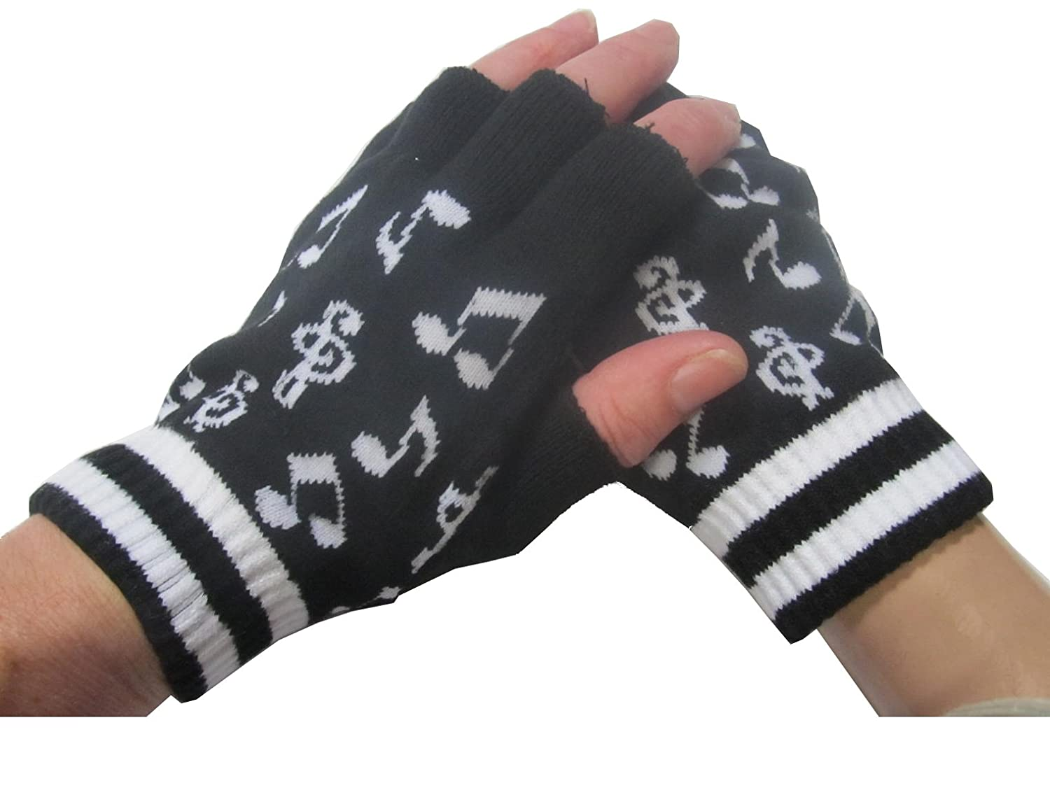 Fingerless gloves amazon - Amazon Com Music Notes Black And White Knitted Fingerless Gloves Clothing