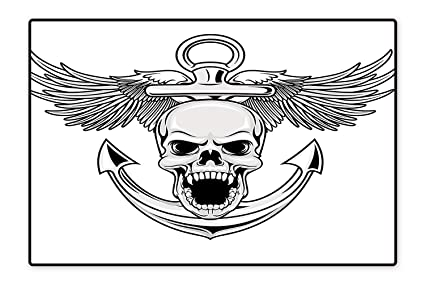 Amazon Com Indoor Outdoor Floor Mat Skull With Anchor And Eagle