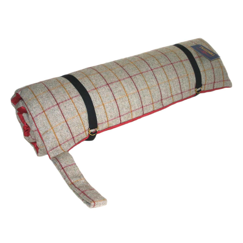 Luxury Tweed Travel Dog Bed with Red Suede Base by Tweedmill (925 Tweed)