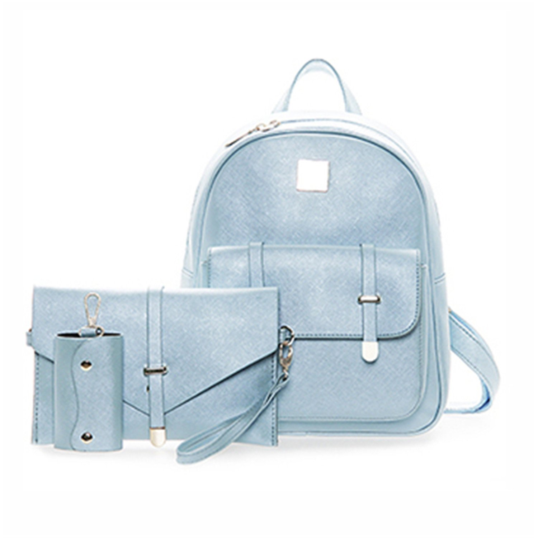 e78a008b17c4 Fashion Composite Bag Pu Leather Backpack Women Cute 3 Sets Bag ...