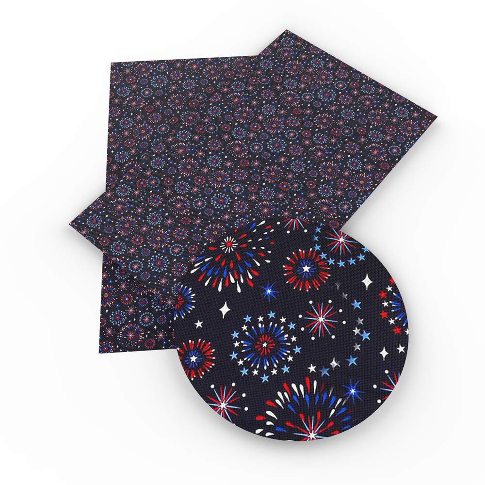 David Angie July 4th The Independence Day Theme Printed Faux Leather Fabric Sheet 9 Pcs 8'' x 13'' (20 cm x 34 cm) DIY Handmade Material for Celebrate (Festival Leather B) by David Angie (Image #3)
