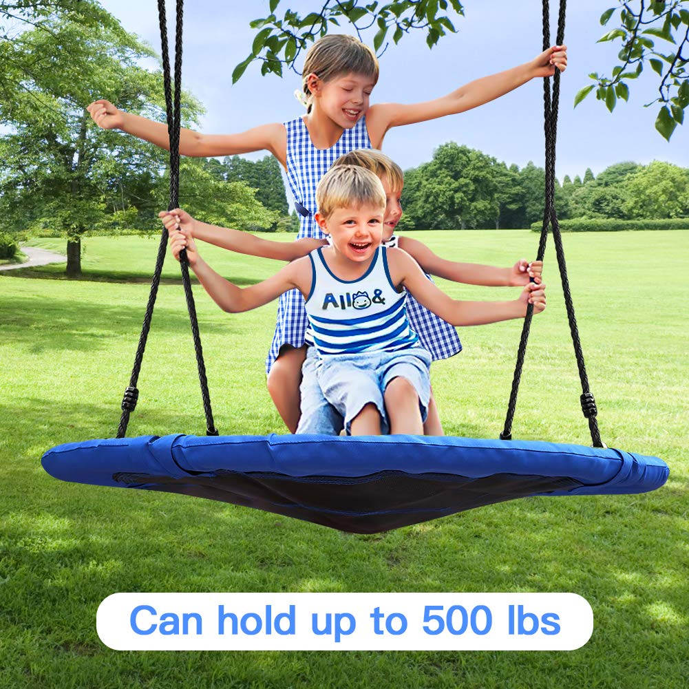 Tree Swing,Swing for Kids,40'' Large Round Outdoor Saucer Swing - 900D Oxford,500lbs Weight Capacity,2 Height Adjustable Straps & 2 Carabiners,Easy Installation - Ideal for Parties and Gifts by SilkRd (Image #2)