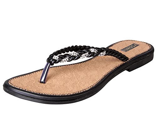 Azores Women's Black Flats Fashion Sandals at amazon