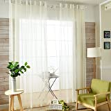 Tamengi Sheer Curtains 84 inches Long Beige, 2 Panels
