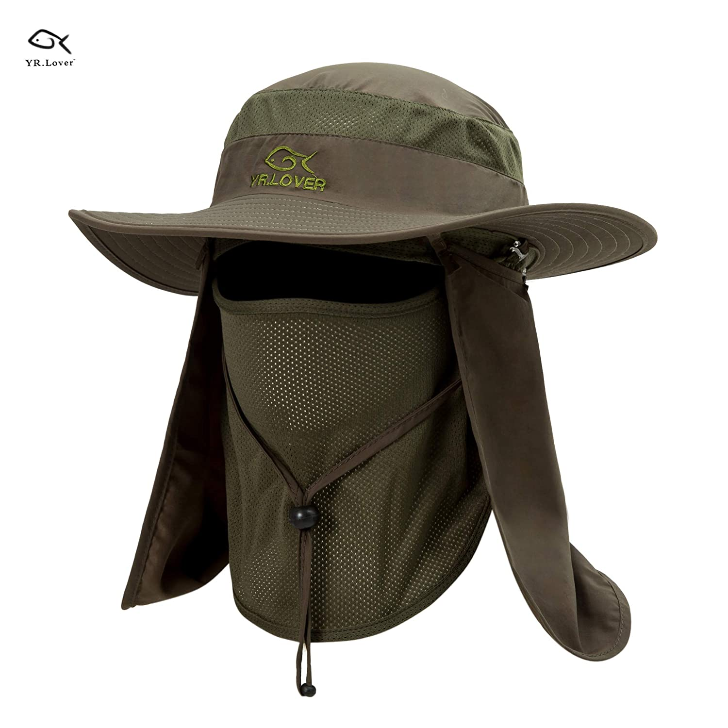 1c14a91670a Lover Outdoor UV Sun Protection Wide Brim Fishing Cap -Men and Women Face  Cover Summer Removable Mesh Neck Face Flap Gardener Hat for Outdoor Sports    ...