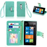 IZENGATE Executive Premium PU Leather Wallet Flip Case Cover Folio Stand for Nokia Lumia 900 (Mint)