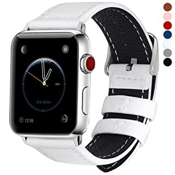 Fullmosa LC-Jan Cuero Correa, 7 Colores Correa Compatible Apple Watch/iWatch Series 5, Series 4, Series 3, Series 2, Series 1, 38mm, 42mm, Blanco 42mm