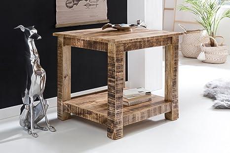 Tavolo da salotto rustica in legno massello 60 x 60 x 60 cm Tavolino ...