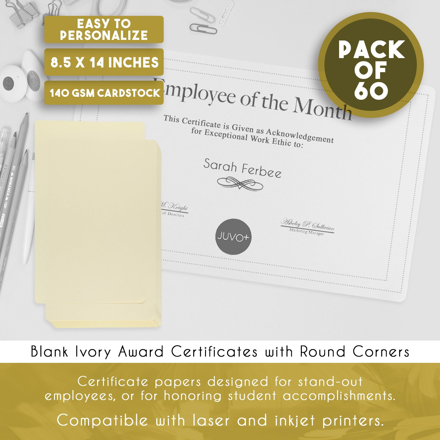 award certificates 25 blank plain paper sheets with gold foil
