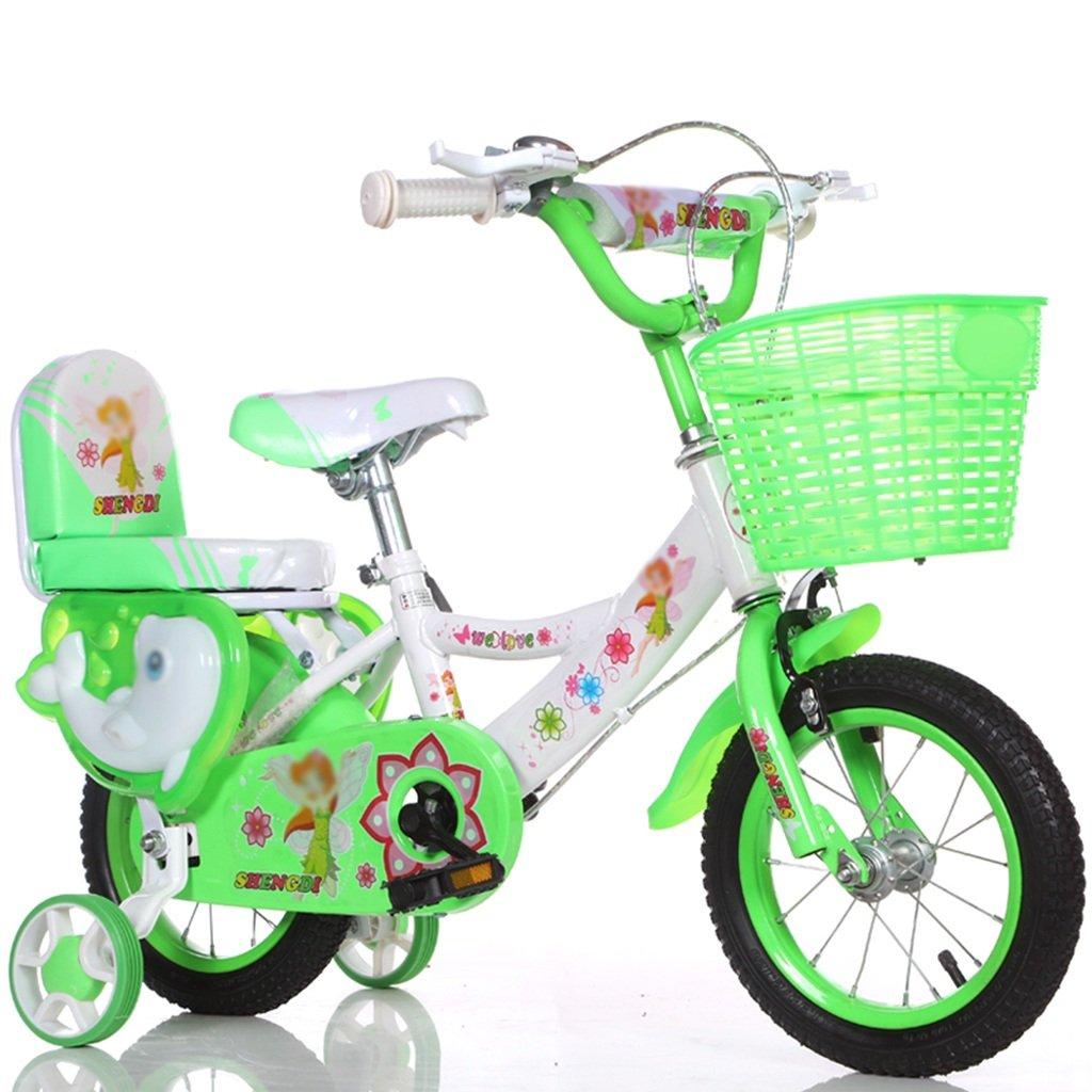QFF ファッション自転車、男の子、女の子自転車自転車小児パーソナル自転車2-9歳の赤ちゃん補助ホイール自転車90-120CM ZRJ (色 : 緑, サイズ さいず : 90センチメートル) B07DNXYX9L 90センチメートル|緑 緑 90センチメートル