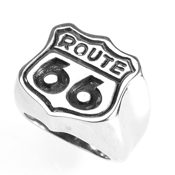 Acero Inoxidable joyer/ía Punky para Hombre de la Ruta 66 Banda Anillo Plata Negro