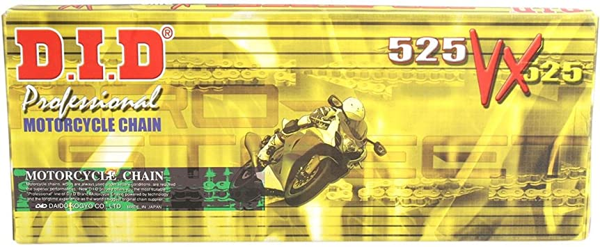 D.I.D 525VX3G110FB Gold//Black 525VX3 X-Ring Chain 110 Links
