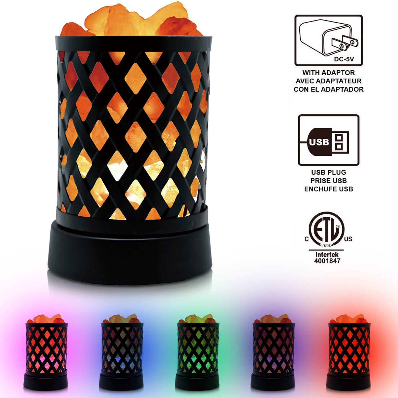 Himalayan Glow 903AC Lattice USB Salt Lamp, Multicolor Night Light with Pink Chunks by Wbm