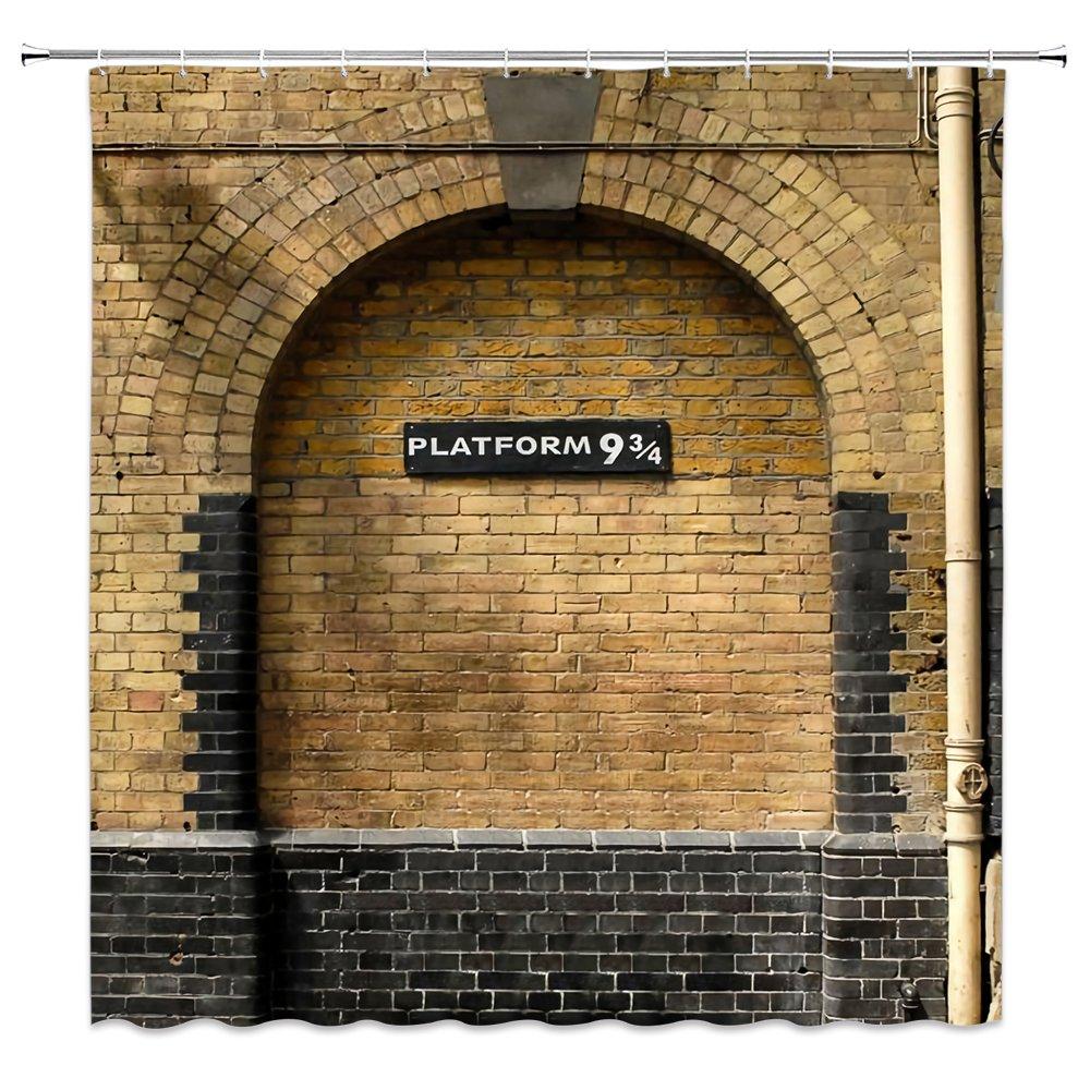 Feierman Platform 9 3/4 Shower Curtain Decor Magical Portal to World Wizarding Hogwarts School Fabric Bathroom Curtain Decor Mildew Resistant Machine Washable with Hooks 70x70Inches