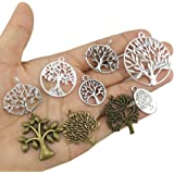 yueton Pack of 45 Alloy Tree of Life Charms Pendents Jewelry Findings for Making Bracelet and Necklace