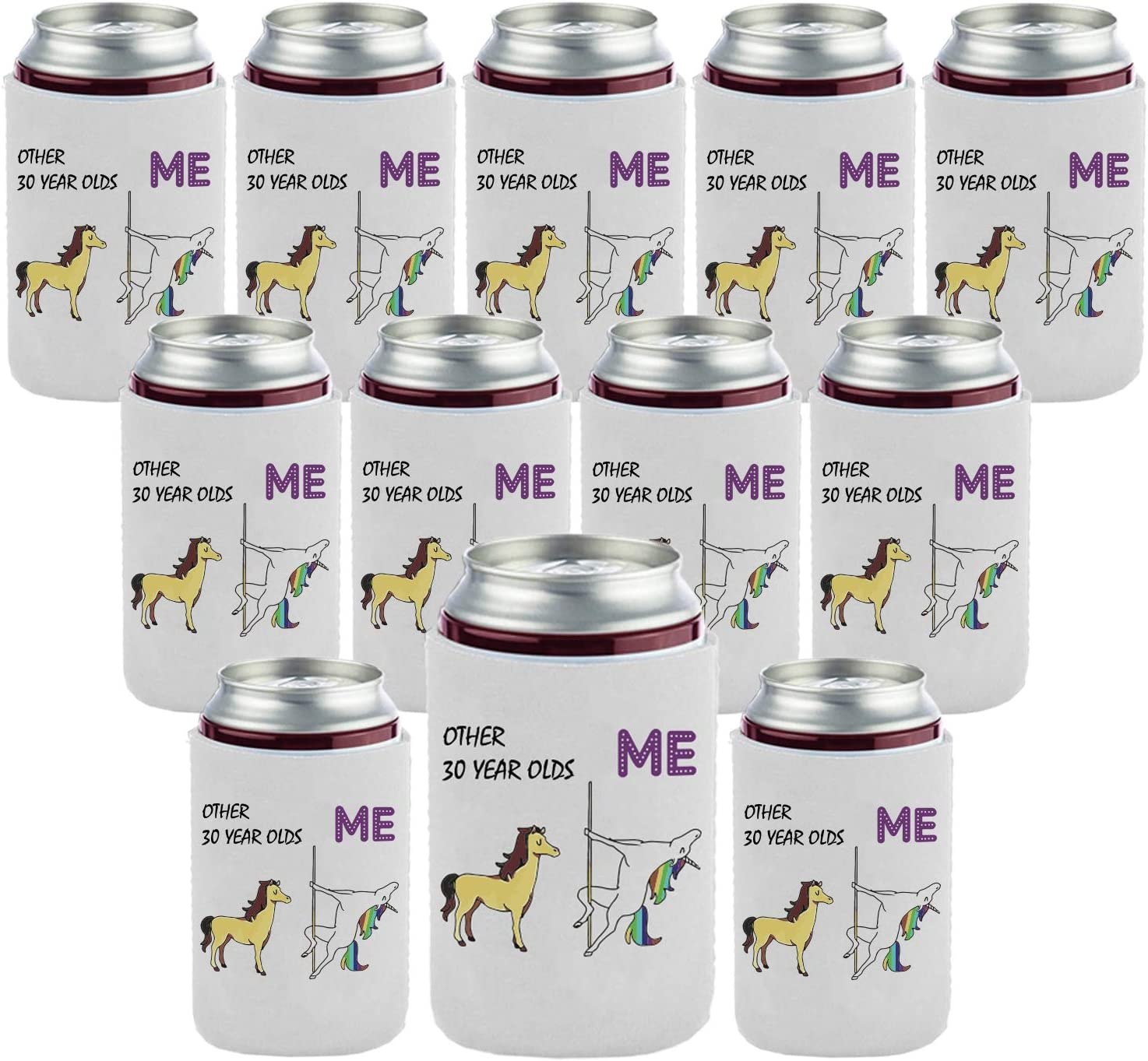 30th Birthday Gift Beer Coolie Beverage Can Coolers Funny Party Decoration Gifts - OTHER 30 YEAR OLDS - ME (12 Pack)