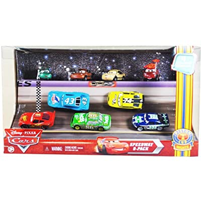 "Disney Pixar Movie Series ""Cars"" EXCLUSIVE Piston Cup Nights Racing Series Speedway 9-Pack Set with Dash Boardman, Houser Boon, Tim Rimmer, Timothy Twostroke, Lightning McQueen, The King, Chick Hicks, Sidewall Shine No.74 and"