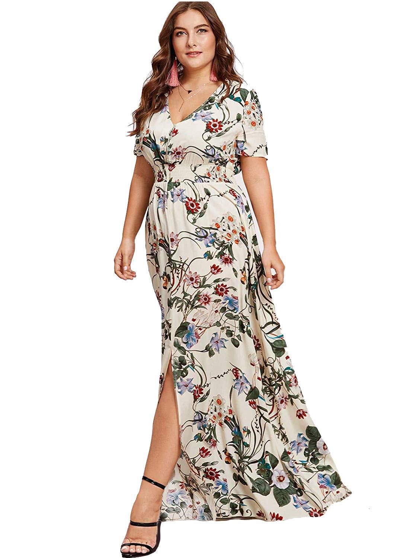 999003953d Milumia Women Plus Size Floral Boho Peasant Wedding Guest Mexican Dress  White 0X
