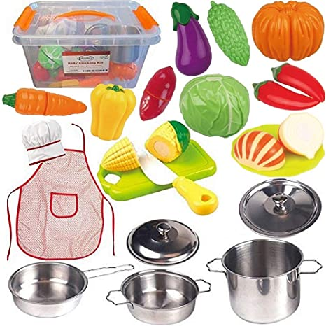 Amazon Com Funerica Toddler Play Kitchen Accessories Set Stainless