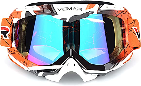 Akoozn Motorcycle Goggles Motorcycle Motocross Off Road Dirt Bike Racing Goggles Glasses Eyes Protection PC Lens Orange frame + colorful lens
