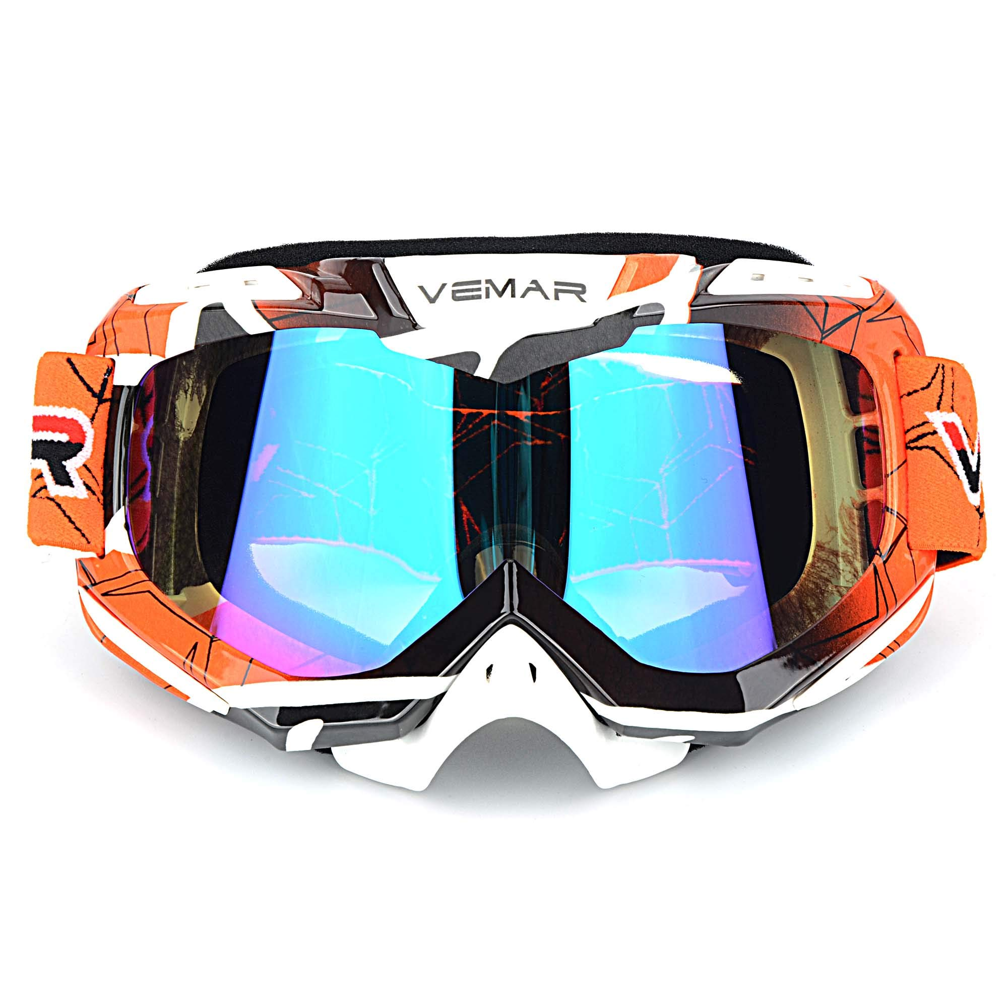 Polarized Sport Motorcycle Motocross Goggles ATV Racing Goggles Dirt Bike Tactical Riding Motorbike Goggle Glasses, Bendable Windproof Dustproof Scratch Resistant Protective Safety Glasses (Orange) by Ubelly