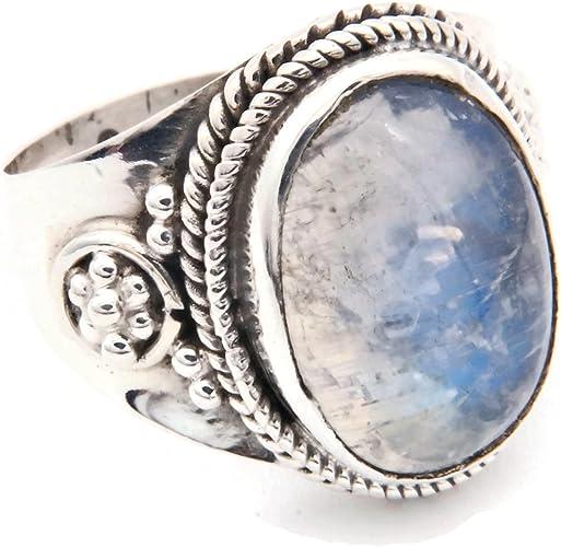 Bague Pierre de lune en argent sterling avec pierre naturelle ovale et rétro frr