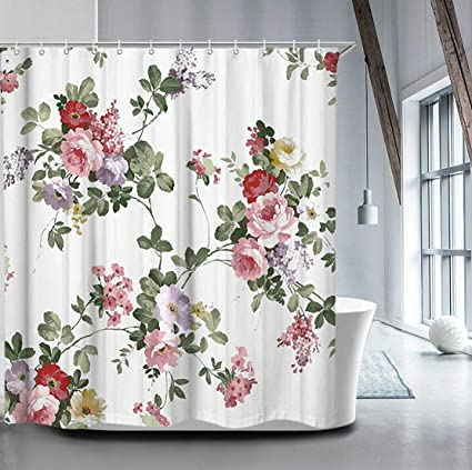 Amazon Livilan Peony Flower Shower Curtain 72 X 72 Inch