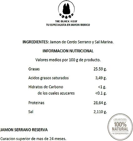 Jamon Serranao RESERVA Cortado a Mano 100% Natural - 100 gramos Jamon Serrano Loncheado - Jamon Serrano en lonchas Cortado a Cuchillo con 24+ meses de ...